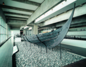 One of the old ships in the Viking Ship Museum